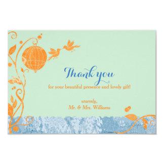 "Bird Cage Love Birds Mint Green Wedding Thank You 3.5"" X 5"" Invitation Card"