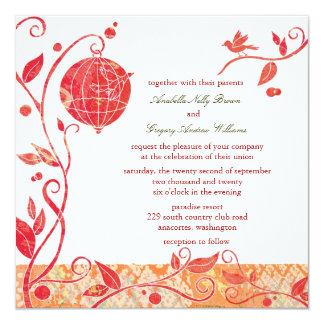 Bird Cage + Love Birds Wedding 13 Cm X 13 Cm Square Invitation Card