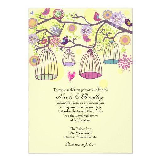 Bird Cage Love Birds Wedding Invitation
