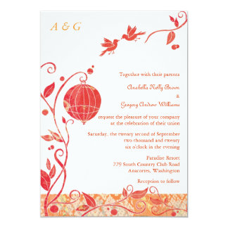 Bird Cage Monogram Love Birds Wedding 13 Cm X 18 Cm Invitation Card