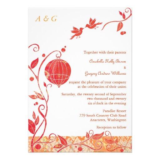 Bird Cage Monogram Love Birds Wedding Invitations