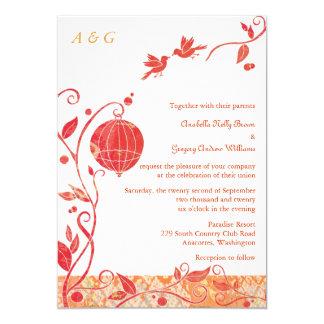 "Bird Cage Monogram Love Birds Wedding Invitations 5"" X 7"" Invitation Card"