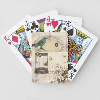 Bird cage Vintage floral  Paris fashion Playing Cards