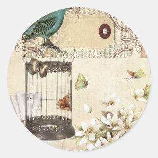 Bird cage Vintage floral  Paris fashion Round Sticker