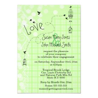 Bird cage wedding whimsical doodle 13 cm x 18 cm invitation card