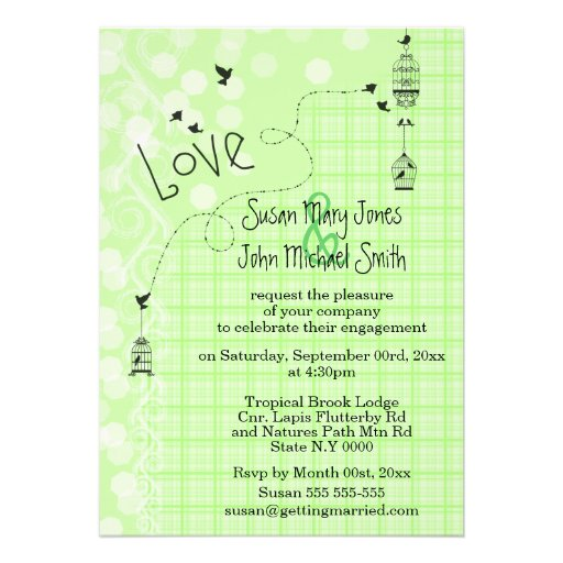 Bird cage wedding whimsical doodle invite