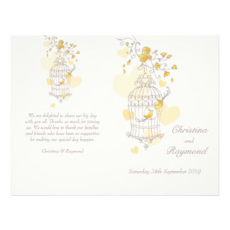 Bird cage yellow grey large Wedding Programme
