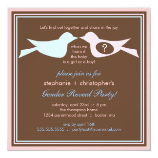 Bird Couple Baby Gender Reveal Party 13 Cm X 13 Cm Square Invitation Card