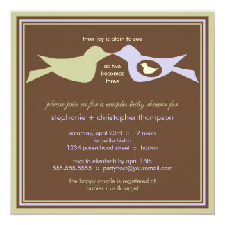 """Bird Family Couples Baby Shower Lilac & Sage 5.25"""" Square Invitation Card"""
