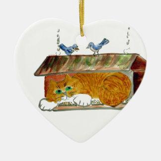 Bird Feeder and Orange Tiger Cat Ceramic Heart Decoration