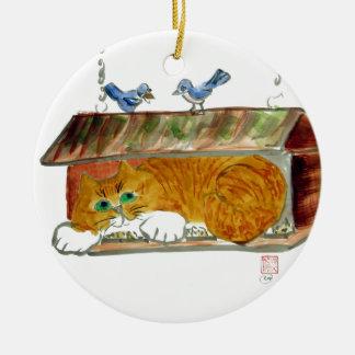 Bird Feeder and Orange Tiger Cat Round Ceramic Decoration