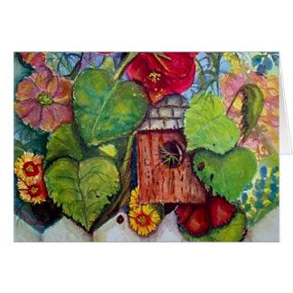 Bird House Cottage Garden Greeting Card