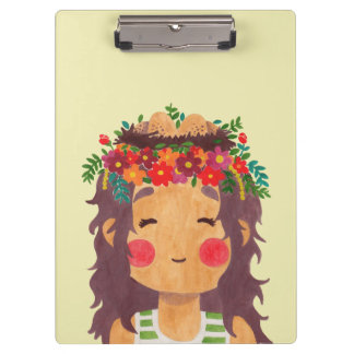 Bird Nest Girl in the Spring Season Clipboards