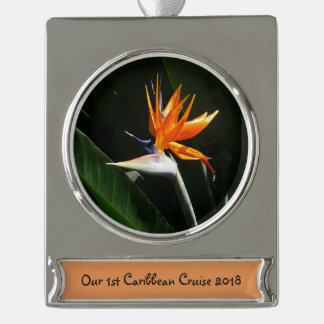 Bird of Paradise Orange Tropical Flower Silver Plated Banner Ornament