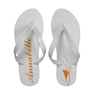 Bird on branch personalized orange chic sandals