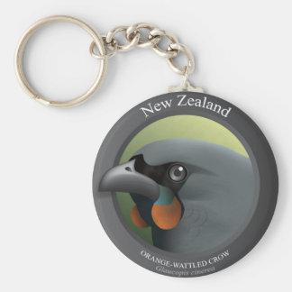 Bird - ORANGE-WATTLED CROW Basic Round Button Key Ring