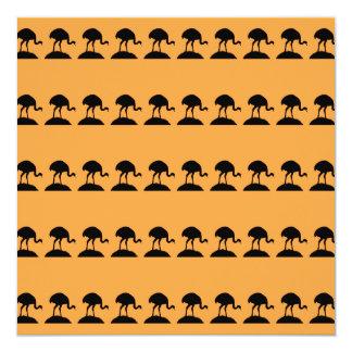 Bird Pattern in Black and Orange. Card