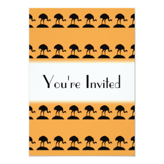 Bird Pattern in Black and Orange. Invitation