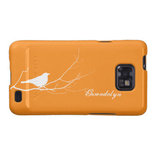 Bird perched on tree branch white orange chic galaxy s2 covers