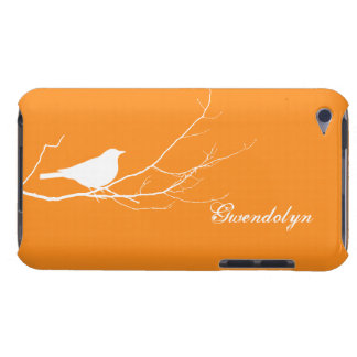 Bird perched on tree branch white orange chic barely there iPod covers
