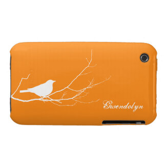 Bird perched on tree branch white orange chic iPhone 3 cover