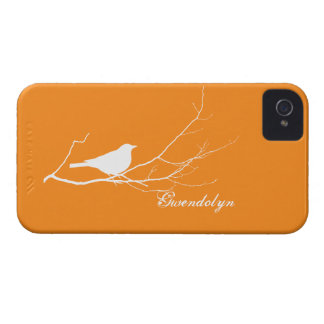 Bird perched on tree branch white orange chic iPhone 4 case