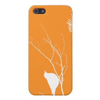 Bird perched on tree branch white orange chic iPhone 5 case