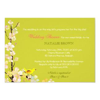 Bird + Sakura Unique Chartreuse Wedding Shower 5x7 Paper Invitation Card