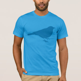 Bird Silhouette, Trendy Blue Graphic T-Shirt