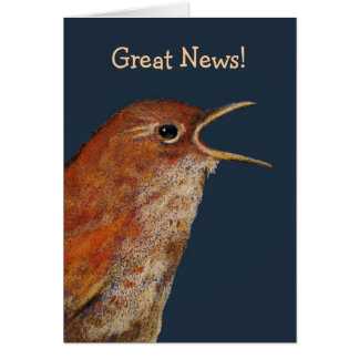 Bird With Open Beak: Great News! Original Art Greeting Card