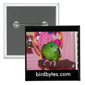 Birdbytes Button with Green Lineolated Parakeet