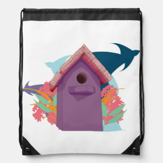 Birdhouse Drawstring Bag