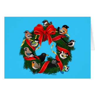 Birdorable European Garden Birds Christmas Wreath Card