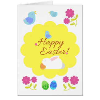 """Birds are singing: """"Happy Easter!"""" Easter Card"""