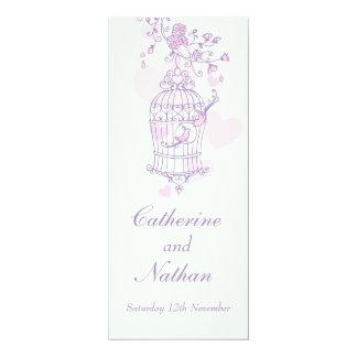 Birds cage purple pink wedding dinner menu 10 cm x 24 cm invitation card