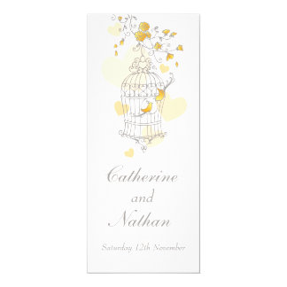 Birds cage yellow grey wedding dinner menu 10 cm x 24 cm invitation card