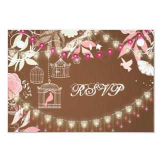 Birds, Cages and Flower Garden Wedding RSVP 9 Cm X 13 Cm Invitation Card
