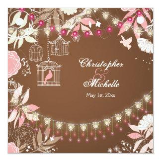 Birds, Cages, Flower Garden Pink and Brown Wedding Card