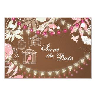 Birds, Cages, Flower Garden Wedding Save the Date 9 Cm X 13 Cm Invitation Card