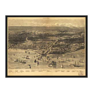 Bird's-Eye-View Of Chicago Before The Great Fire Stretched Canvas Prints
