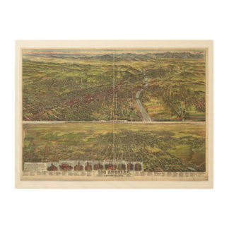 Bird's Eye View of Los Angeles California in 1894 Wood Canvases