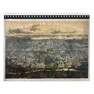 Bird's eye view of Philadelphia Pennsylvania 1868 Wall Calendar
