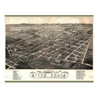 Bird's Eye View of River Falls, Wisconsin (1880) Postcard