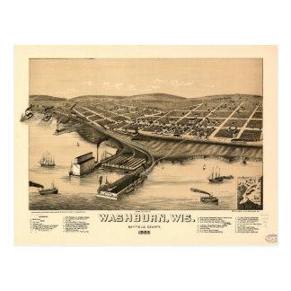 Birds eye view of Washburn, Wisconsin (1886) Postcard