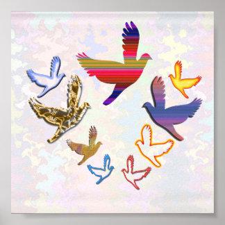 BIRDS FLY  - kidsroom Art Poster