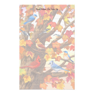 Birds in Autumn Maple Tree Stationery