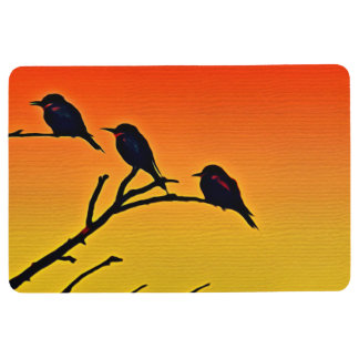 BIRDS IN TREE at SUNSET, Yellow Orange & Red Floor Mat
