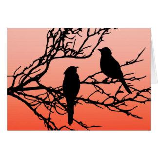 Birds on a Branch, Black Against Sunset Orange Card
