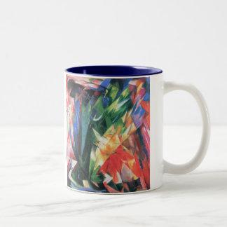 Birds (Vogel) by Franz Marc, Vintage Cubism Art Two-Tone Coffee Mug