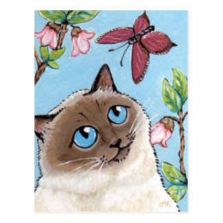 Birman Cat and Butterfly painting Postcard